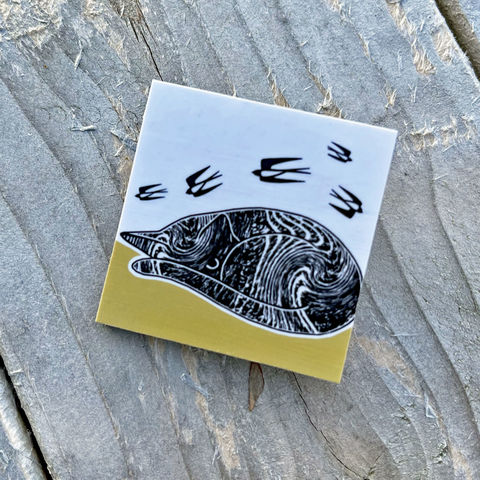 'CatNap',Brooch,-,yellow,Skye, Isle of Skye, jewellery, cat brooch, catnap brooch,Gifts under £20.00, inexpensive, handmade gift, handmade craft, brooch, denise huddleston, isle of skye jewellery, fun, wooden
