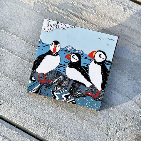 'Puffins',Brooch,Skye, Isle of Skye, jewellery, Gifts under £20.00, inexpensive, handmade gift, handmade craft, brooch, denise huddleston, isle of skye jewellery, fun, puffins, wooden