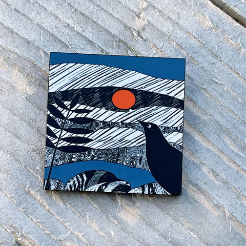 'Blackbird',Brooch,-,blue,Skye, Isle of Skye, jewellery, Gifts under £20.00, blackbird, blue, inexpensive, handmade gift, handmade craft, brooch, denise huddleston, isle of skye jewellery, fun, wooden