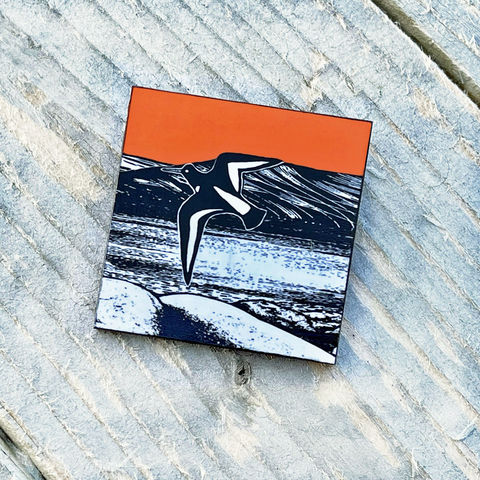'Over,the,Loch',Brooch,-,tangerine,Skye, Isle of Skye, oystercatcher brooch, orange brooch,jewellery, Gifts under £20.00, inexpensive, handmade gift, handmade craft, brooch, denise huddleston, isle of skye jewellery, fun, wooden