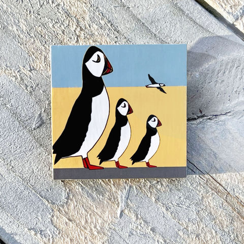 'Puffin,Family',Brooch,Skye, Isle of Skye, puffin family,jewellery, Gifts under £20.00, inexpensive, handmade gift, handmade craft, brooch, denise huddleston, isle of skye jewellery, fun, puffins, wooden