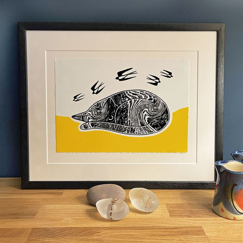 'CatNap',-,'yellow',original,artwork,Silkscreen-print, original art, cat print, cat picture, yellow art, cuckoo tree studio, isle of skye, scotland, highlands, denise huddleston, printmaking, printmaker, hand printed, yellow