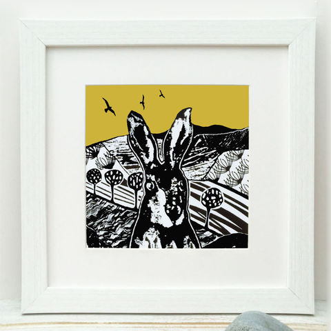 CROFT,HARE,-,vintage,yellow.,Limited,Edition,Giclee,Print,vintage yellow, croft hare, giclee print,art print,cuckoo tree studio,denise huddleston,isle of skye, scottish art,skye art,hare