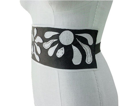 Mano Bello leather underbust belt, dark brown & white - product images  of