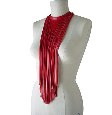 Long,fringe,choker,necklace,,lambskin,,red,red fringe necklace,red leather necklace,red leather fringe,leather fringe choker,leather choker,fringe choker,leather fringe necklace,fringe necklace,long fringe necklace,statement jewelry,statement necklace,avant gard fashion,cool fa