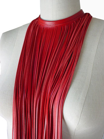 Long fringe choker necklace, lambskin, red - product images  of