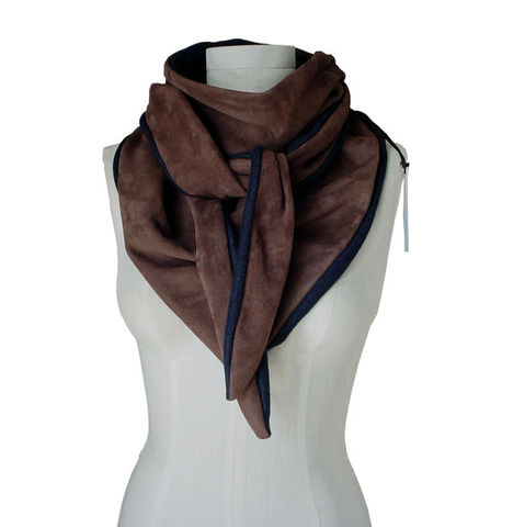 Suede,leather,scarf,with,cashmere,,brown,lambskin,Brown suede scarf,brown suede triangle scarf,ManoBello,Mano Bello,#Manobello,upcycled,leather scarf,leather bandanna,triangle scarf,brown leather scarf,grey scarf,mens leather scarf,suede scarf,grey suede scarf,womens suede scarf,suede triangle scarf