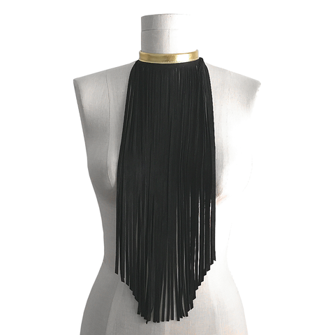 Suede fringe scarf necklace, black and gold - product images  of