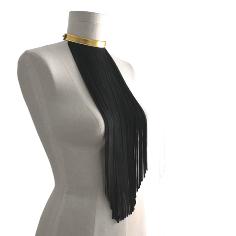 Suede,fringe,scarf,necklace,,black,and,gold,black scarf,black suede fringe,black and gold,leather fringe,fringe necklace,leather scarf,leather bib,womens leather choker,chokers for women,boho necklace,bohemian necklace,elegant necklace,black leather, womens chokers,fashion,boho style