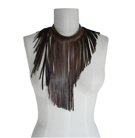 Leather,fringe,choker,necklace,,brown,goatskin,ManoBello,Mano Bello,leather fringe choker,leather fringe necklace,fringe necklace,brown leather fringe,handmade jewelry,leather jewelry,boho jewelry,boho necklace,stage wear,costume,performance,fashion jewelry,one of a kind,women