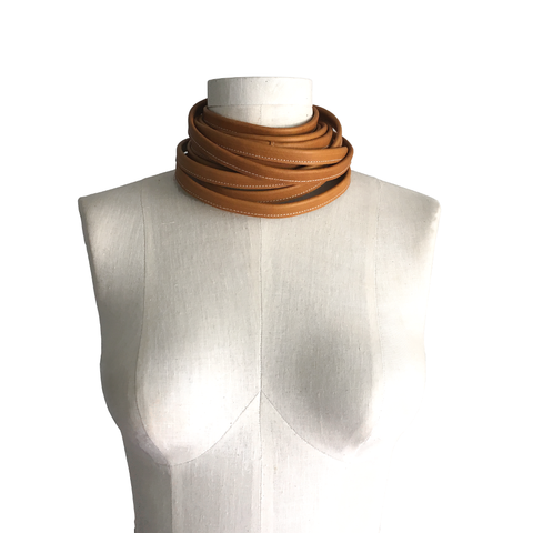 Wrapping,leather,choker,,honey,cowhide,leather choker,wrap choker,wrapping choker,leather scarf,honey tan,women leather,mens leather,wrapping scarf,wrap scarf,tan scarf,neutral leather,fashion accessories