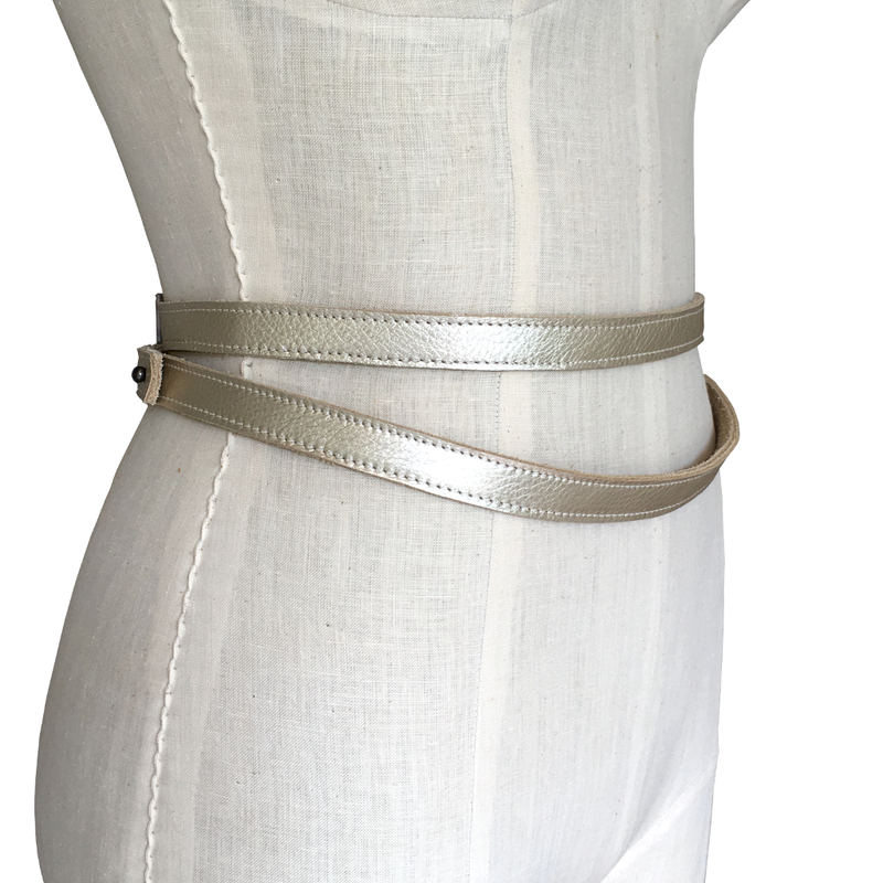 Skinny double wrapping belt, gold - product images  of