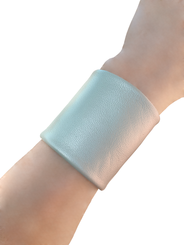 Lambskin bracelet cuff, iced seafoam - product images  of