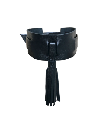 Tassel,choker,,black,lambskin,womens choker,leather choker, manobello, mano bello, manobello leather, mano bello leather, wide choker, tassel choker, choker with tassel, tassle choker, chokers for women, leather chokers, fringe choker, lambskin choker, fashion accessories, handmade le