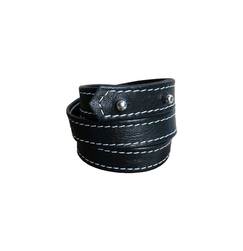 Addictive leather wrapping bracelet, black lambskin - product images  of