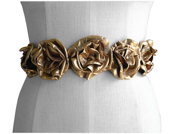 Gold leather flower wedding dress sash, foil metallic lambskin - product images  of