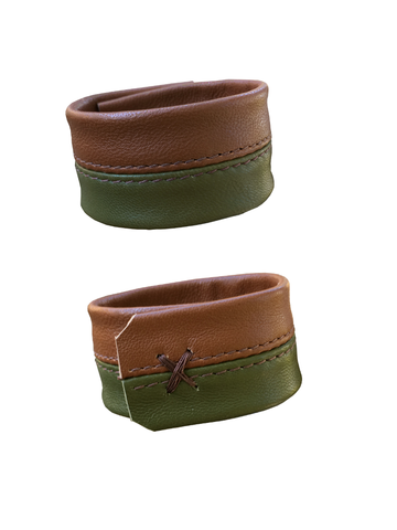 2 tone cuff & bracelet, olive and cognac lambskin - product images  of