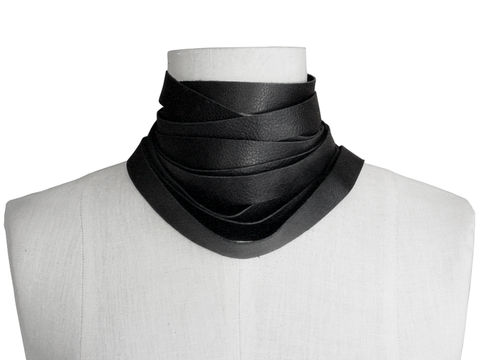 Wrapping,choker,scarf,,black,leather scarf.leather choker,wrapping scarf,wrapping choker,layered necklace,minimalist fashion,black accessories,non metal jewelry,avant garde fashion,neutral accessories