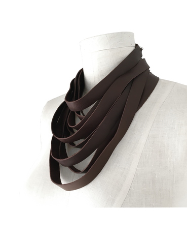 Wrapping leather choker scarf, chocolate brown - product images  of