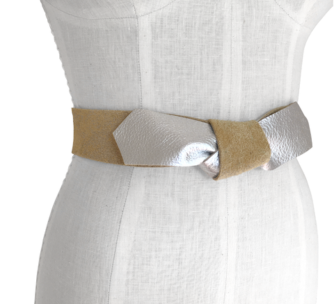 Raw leather bow strap belt, gold or silver Lena belt - product images  of