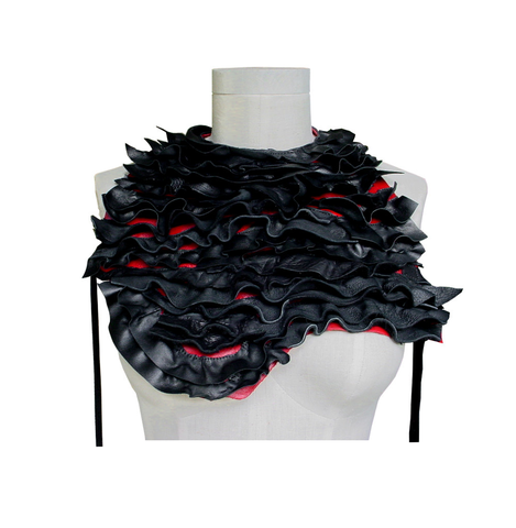 Leather,ruffled,body,harness,,black,&,red,high end fashion,Mano Bello leather,leather accessories,ruffled leather,ruffle bib,statement necklace,body harness,leather body harness,leather bib,leather scarf,fashion accessories,Mano Bello goes with everything,manobello,handmade,designer,ind
