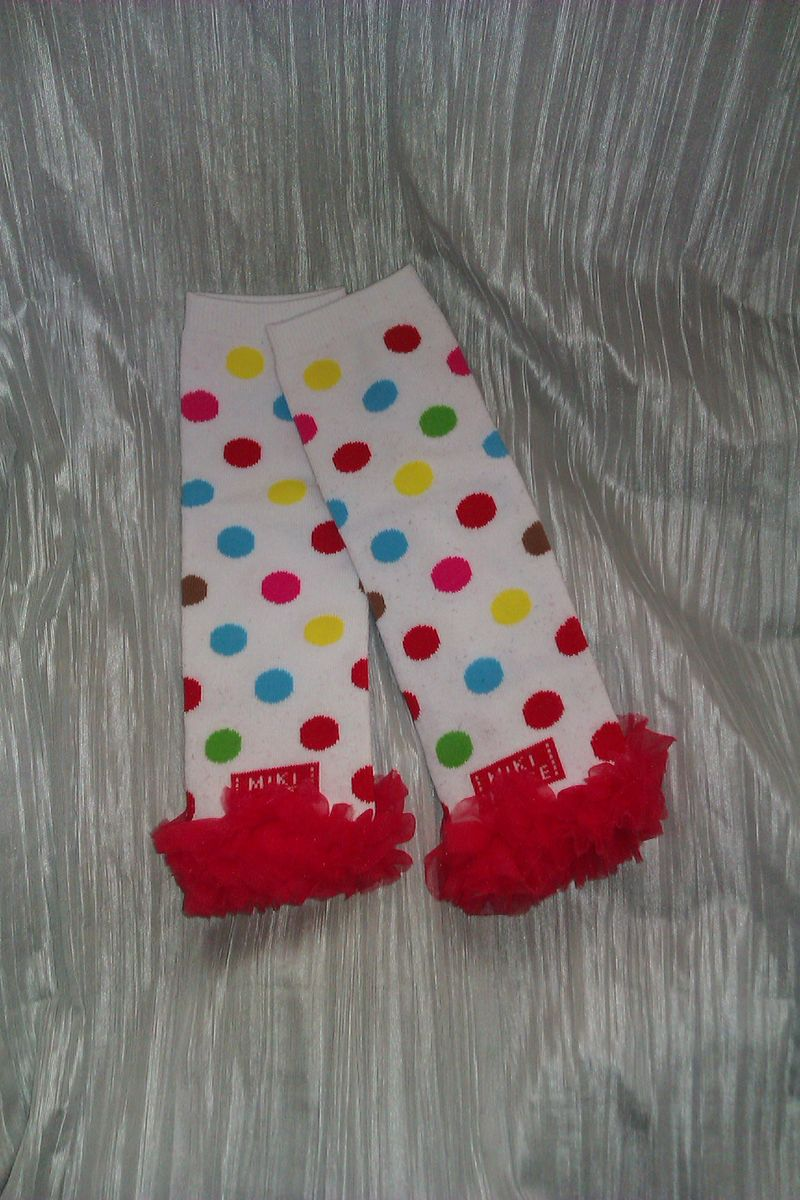 Polka Dot Leg Warmers with Red Chiffon - product image