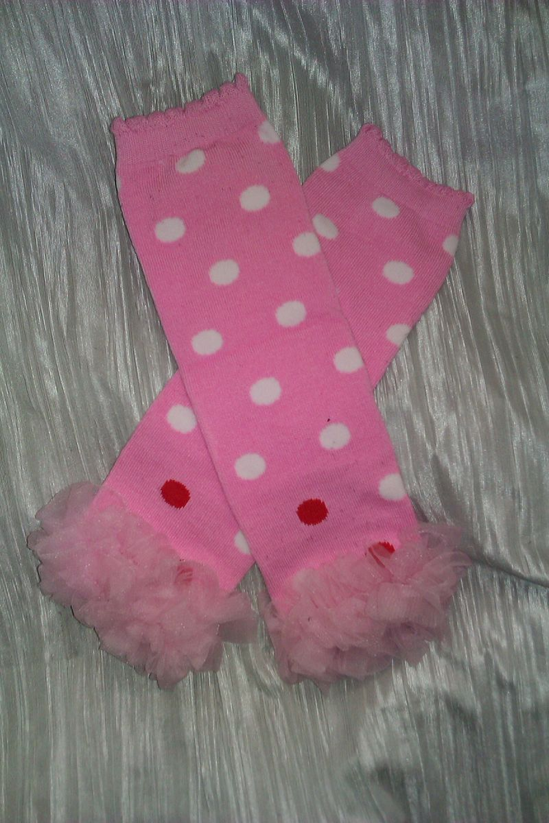 Pink Leg Warmers w/White and Red Polka Dots and Pink Chiffon - product image