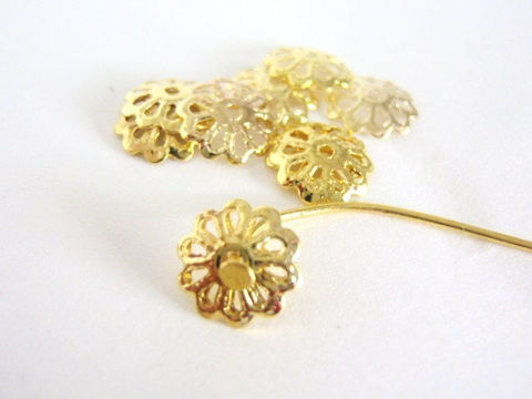 Filigree,9mm,Bead,Cap,Gold,Tone,Finish,Findings,golden_bead_cap,beadcaps,9mm_beadcap,filigree_beadcap,brass_color,jewelry_supplies,small_bead_cap,bead_top, Beads2string, bead store, online bead store, 9mm gold tone_bead cap, jewelry findings, bead_end,bulk_beadcaps