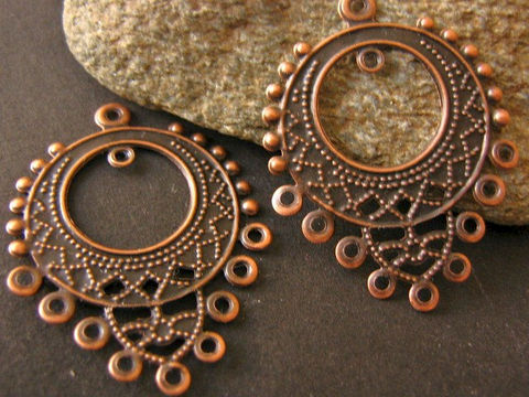 Antique,Copper,25x32mm,Chandelier,Earring,Settings,or,Pendant,Link,Findings,32x25mm_chandelier_setting,earring_settings,chandelier_setting,metal_stamping,pendant,connector,filigree_stamping,bohemian_findings,jewelry_findings,craft_supplies,bead_store,Beads2string,antique_copper, antique copper earring chandelier, earring