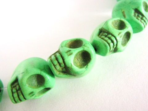 Green,Howlite,15x18mm,Skull,Head,Gemstone,Beads,green_gemstone,green_skull beads,sugar_skull beads,howlite_skulls beads,imitation_turquoise,green_howlite,green_beads,skull_beads,18mm_skull,18x15mm skull beads,gothic beads,jewelry_supplies,bead store, Beads2string, bead supplies, goth beads, craft beads