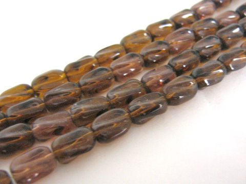 Transparent,Brown,10x6mm,Oval,Twist,Glass,Beads,glass_beads,transparent brown beads,brown_beads,6x10mm oval beads,twisted_oval beads,oval_beads, bead store,Beads2string,glass beads, brown glass beads, craft beads, wholesale beads