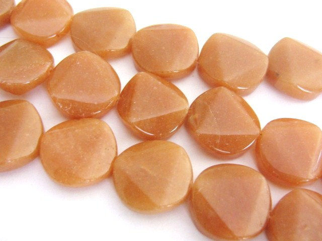 Red Aventurine 21mm Faceted Coin Gemstone Beads - product images  of