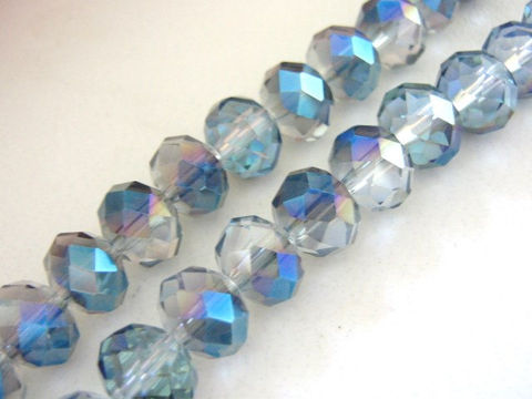 Clear,Blue,Metallic,8x10mm,Faceted,Rondelle,Crystal,Glass,Beads,metallic_blue_glass beads,blue_crystal_beads,blue_rondelle beads,10x8mm rondelle beads,blue_vitrail rondelle beads, Beads2string,glass_rondelle_beads,jewelry_supplies