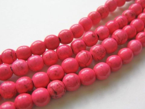 Pink,Howlite,7mm,Round,Gemstone,Beads,pink beads, beads, gemstone, craft supplies, half strand, fake turquoise, faux turquoise, imitation turquoise, dyed howlite, round howlite, pink gemstone, pink round beads,round pink beads, 7mm howlite, Beads2string, bead store, bead supply