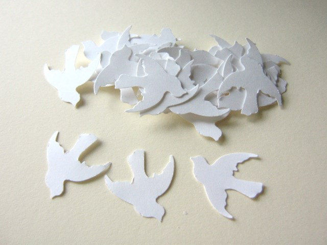 White Dove Confetti 1 Inch Bird Die Cut Wedding Party Decor - product images  of