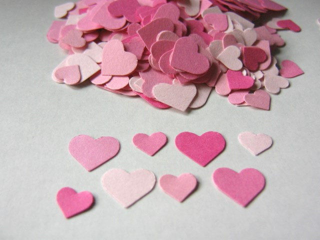 Pink Confetti Heart Die Cut Cardstock Paper Wedding Table Scatter - product images  of