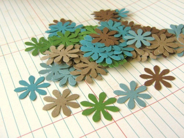 Flower Die Cut Confetti 1 Inch Green Brown Blue Cardstock Paper - product images  of