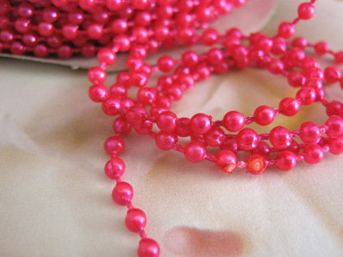 Fuchsia,Pearl,Beaded,Garland,4mm,Round,Pink,Fused,Bead,Strand,3,Yards,beaded garland, pink garland, fuchsia_faux_pearl,faux_pearl_bead_trim,pearl_beaded_trim,beaded_trim_4mm,4mm_round_pink,round_pink_plastic,pink_plastic_bead,bead_garland,floral_supplies,fused_bead_strand,faux_pearl_trim,pearl_bead_strand