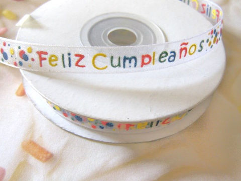 Feliz,Cumpleanos,Organza,Ribbon,White,3/8,Inches,Wide,4,Yards,Happy,Birthday,ribbon,feliz_cumpleanos_ribbon,organza_ribbon,organza_trim,happy_birthday_ribbon,gift_wrapping,White_organza_ribbon,ribbon_by_the_yard,birthday_ribbon,cumpleanos_ribbon,scrapbooking_ribbon,corsage_ribbon,white_ribbon, 3/8 inch ribbon, 3/8 inch organza rib