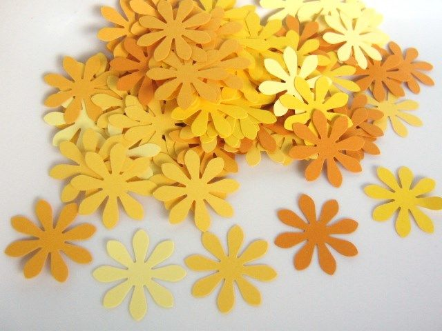 Confetti 1 Inch Flower Die Cut Yellow Cardstock Paper - product images  of
