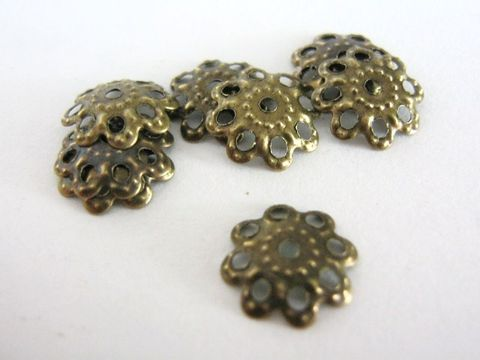 Filigree,10mm,Bead,Caps,Antique,Bronze,Flower,supplies, findings, 10mm_beadcaps, beadcaps, filigree_beadcaps, bead_caps, 10mm_bead_caps, base_metal_beadcaps, flower_beadcaps, antique_bronze_beadcaps, bead_end, 10mm_flower, lead_free_findings, nickel_free_findings, online_bead_store, beads2string, jew
