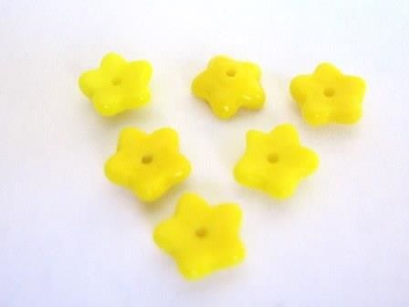 Opaque,Yellow,8mm,Flower,Czech,Glass,Beads,supplies, beads, glass_beads, czech_beads, czech_glass_beads, czech_flowers, glass_flowers, flower_beads, 8mm_flower_bead, yellow_flower_beads, Beads2string, czech_flower_beads, bead_store, 8mm_flower_beads, bead_supply
