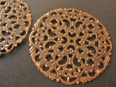 Antique,Copper,44mm,Round,Filigree,Pendant,Stamping,supplies,Findings,antique_copper_findings,44mm_stamping,filigree_stamping,round_stamping,44mm_pendant,jewelry_findings,metal_stamping,round_pendant,lead_free_findings,wrap_for_beads,bead_store,round_filigree_stamping,Beads2string,craft_store,jewelry_suppl