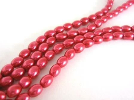 Red,Glass,Pearls,8x4mm,Oval,Beads,Supplies,Bead,glass_beads,faux_pearls,fake_pearls,pearl_beads,red,hot_pink,4x8mm,oval,opaque,commercial,supplies,Beads2string,ship_international,glass,beads