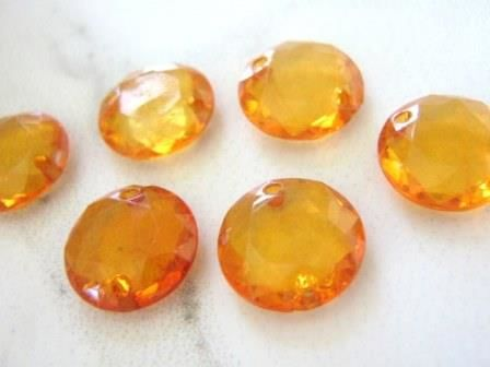 Transparent Orange 13mm Faceted Coin Connector Beads Acrylic - product images  of