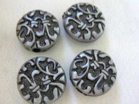 Antique Silver Tone 14.5mm Coin Plastic Acrylic Beads - product images  of