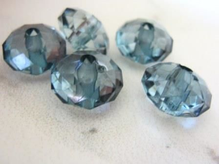 Montana Blue 9x14mm Faceted Rondelle Acrylic Beads - product images  of