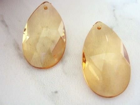 Transparent Brown 21x37mm Faceted Teardrop Acrylic Beads - product images  of