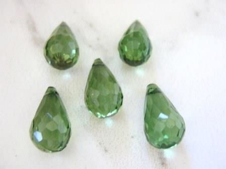 Green 10x18mm Micro Faceted Teardrop Beads Acrylic - product images  of