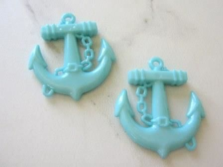 Opaque Blue 45mm Anchor Pendant Aqua Acrylic - product images  of